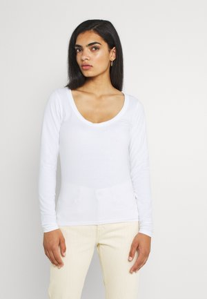 EVERYDAY SCOOPED NECK LONG SLEEVE - Long sleeved top - white