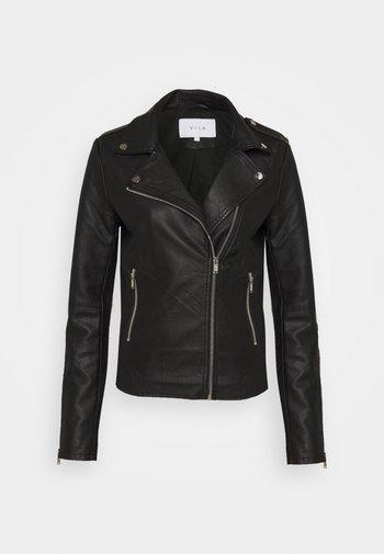VICARA COATED JACKET - Faux leather jacket - black