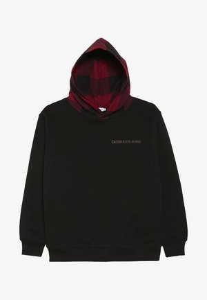CHECK HOODED - Hoodie - black