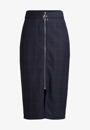 ALISHA CHECK MIDI SKIRT WITH ZIP DETAIL - Pencil skirt - blue