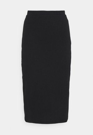 Basic ribbed midi high waisted skirt - Pencil skirt - black
