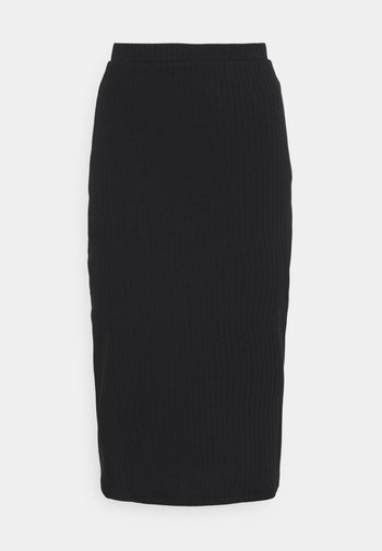 Basic ribbed midi high waisted skirt
