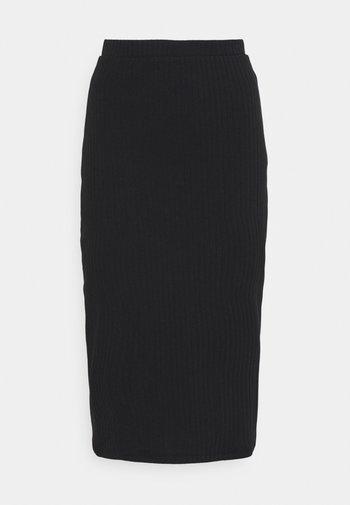 Basic ribbed midi high waisted skirt - Kokerrok - black