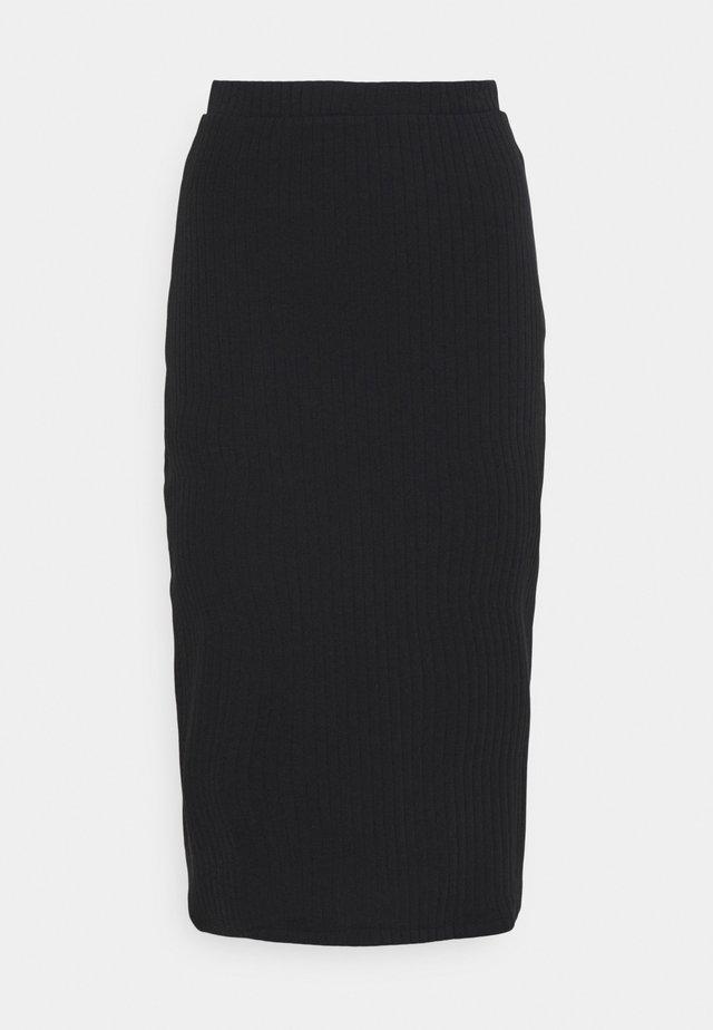 Basic ribbed midi high waisted skirt - Falda de tubo - black