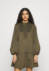 Closet - HIGH NECK PEPLUM DRESS - Day dress - khaki - 0