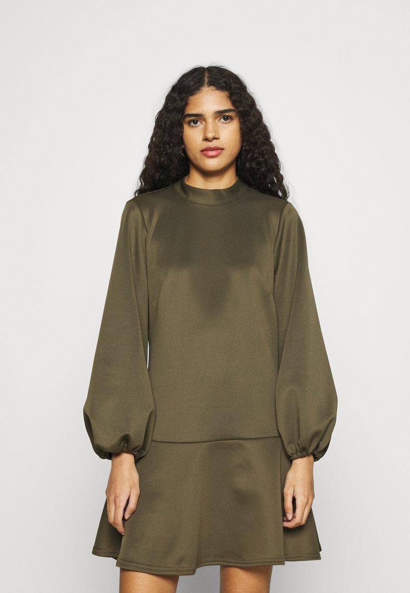 Closet - HIGH NECK PEPLUM DRESS - Day dress - khaki