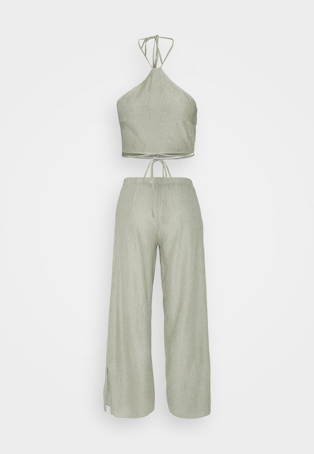 TEXTURED TIE UP CROP TOP AND WIDE LEG TROUSER CO ORD - Linne - sage
