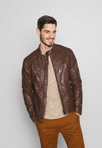 Strellson - BRIXTON - Leather jacket - cognac - 0
