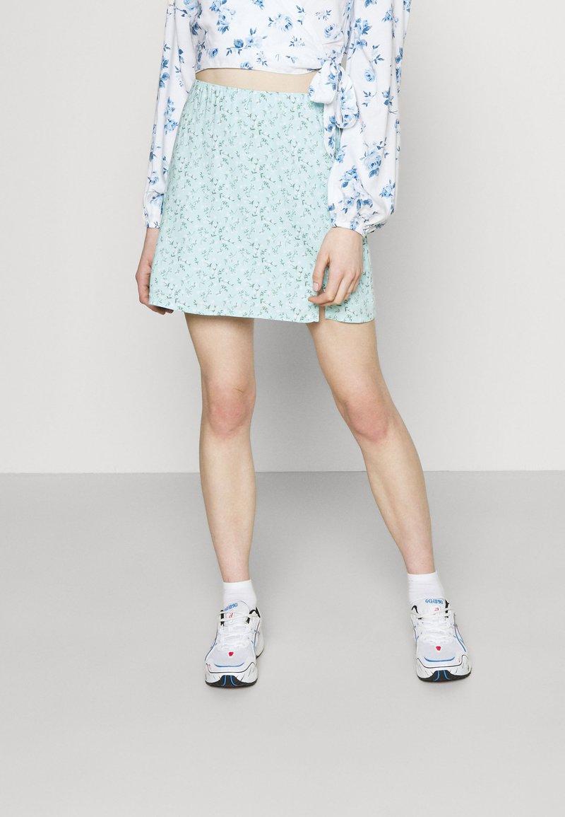 Hollister Co. - SOFT SLIT - Mini skirt - light blue