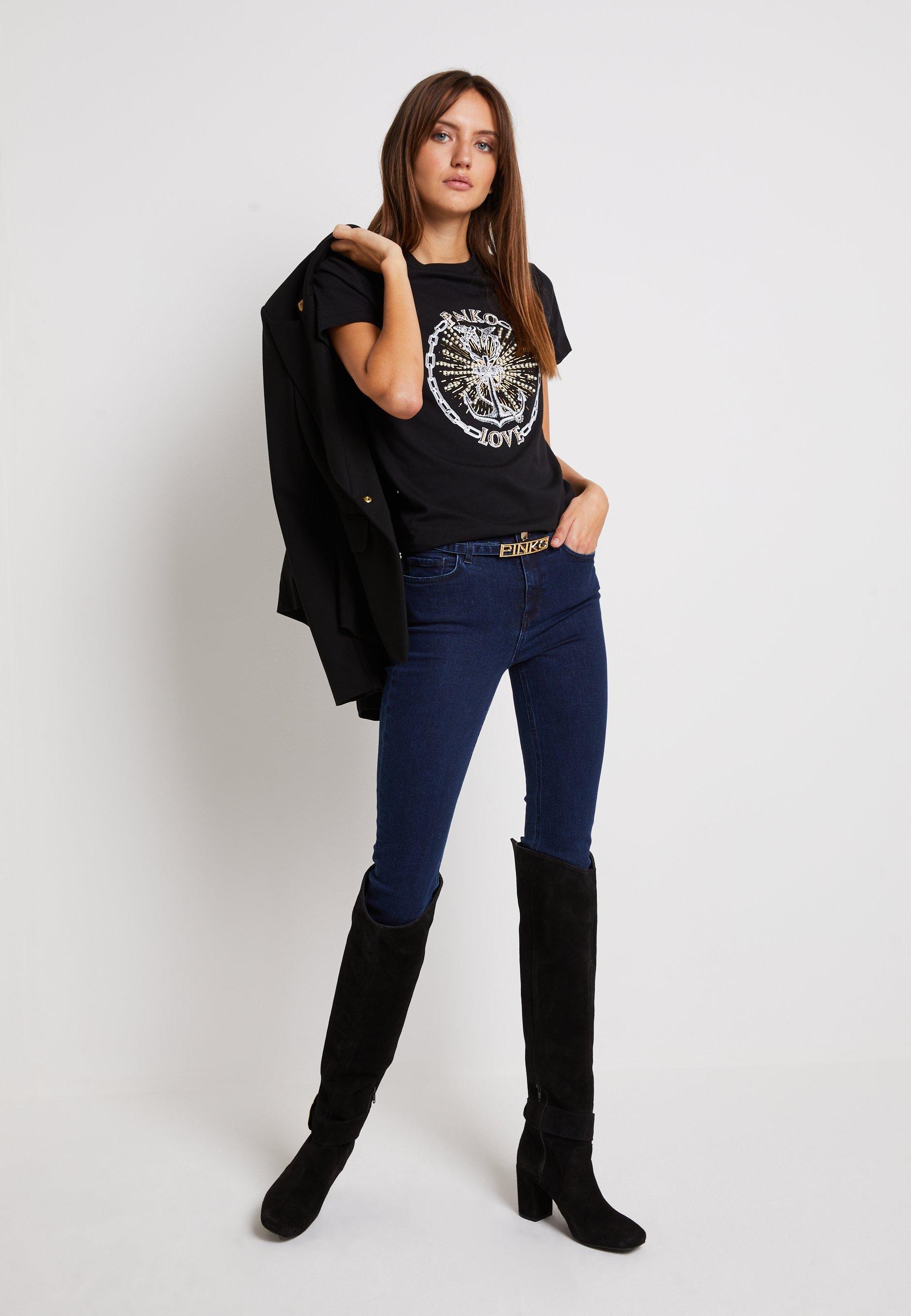 Pinko Edgardo - T-shirts Med Print Nero/svart