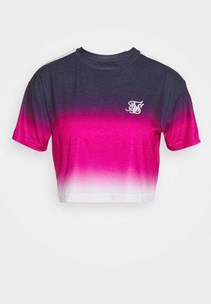 FADE TAPE CROP TEE - Printtipaita - navy/pink/white