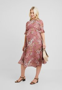 Hope & Ivy Maternity - FLUTED SLEEVE SKATER DRESS - Denní šaty - pink - 1