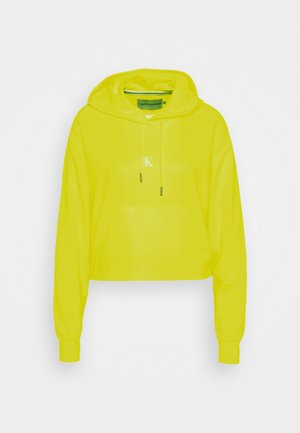 PUFF PRINT CROPPED HOODIE - Hoodie - safety yellow