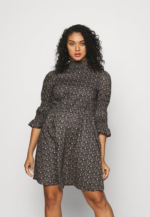 HIGH-NECK POPLIN DRESSES WITH PUFF SLEEVES - Korte jurk - multicoloured
