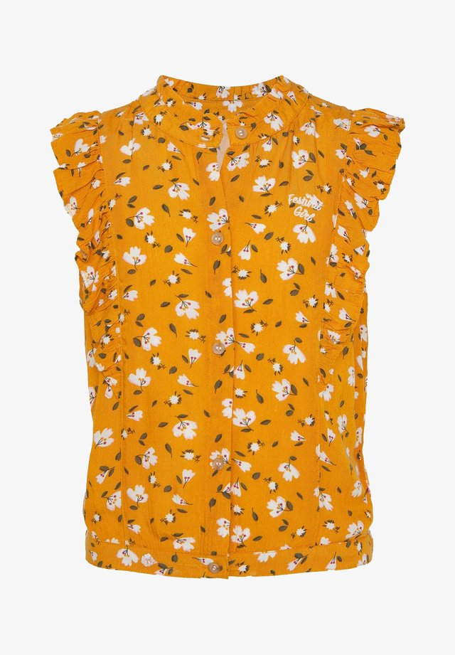 WE FASHION MEISJES BLOUSE MET BLOEMENDESSIN EN VOLANT - Button-down blouse - ochre yellow
