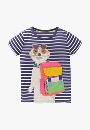 Print T-shirt - segelblau/naturweiß erdmännchen