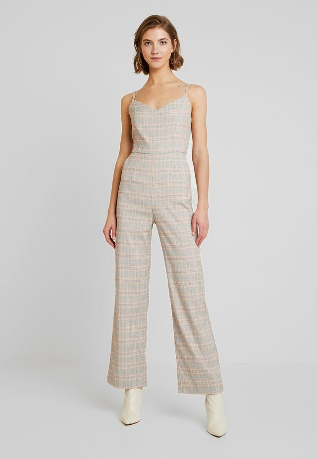 PLAID SLEEVELESS JUMPER - Jumpsuit - camel