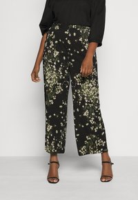 CAPSULE by Simply Be - WIDE LEG TROUSERS PRINTED - Trousers - black/green - 0