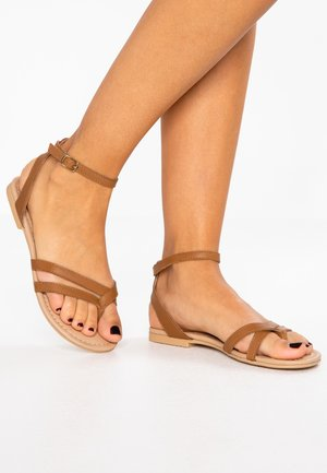 LEATHER - T-bar sandals - cognac