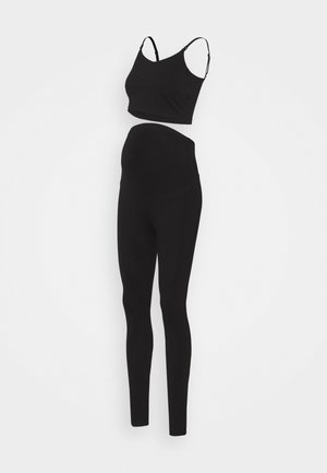 SET NURSING FUNCTION CROP TOP & LEGGINGS - Leggings - Trousers - black