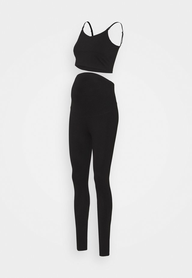 SET NURSING FUNCTION CROP TOP & LEGGINGS - Legíny - black