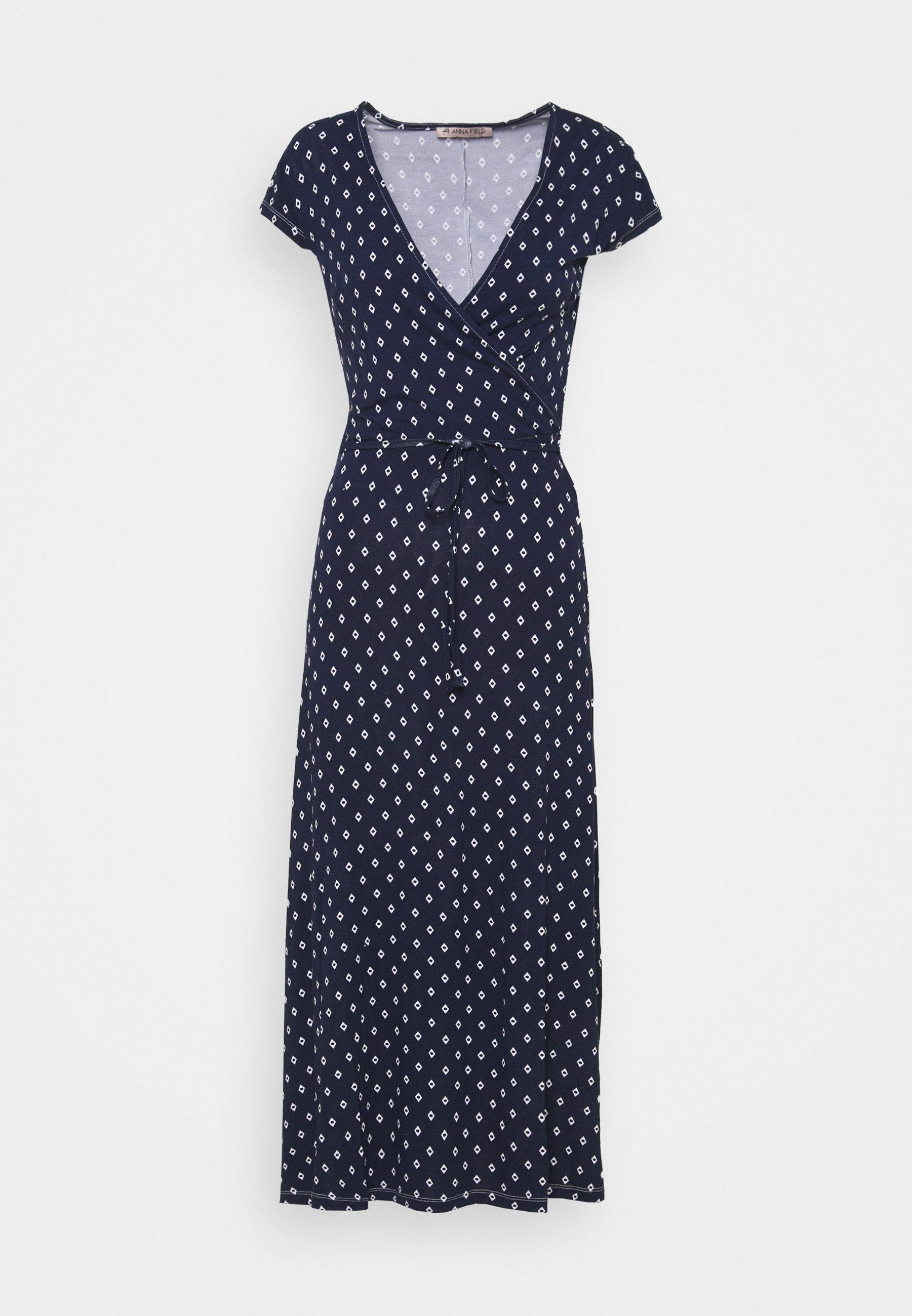 Women Short sleeves wrap belted maxi dress - Maxi dress