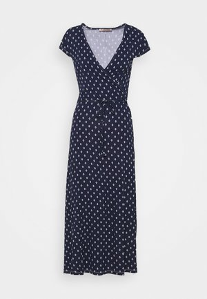 Short sleeves wrap belted maxi dress - Maxikjole - dark blue/white