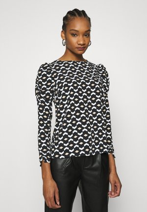 GEO PRINT LONG SLEEVE PUFF SHOULDER - Long sleeved top - black