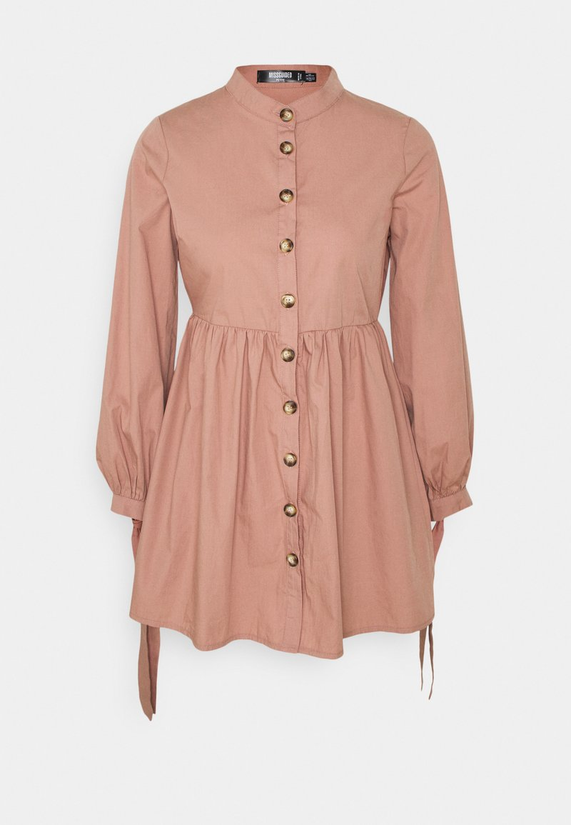 Missguided Petite - TIE CUFF SHIRT DRESS  - Shirt dress - blush