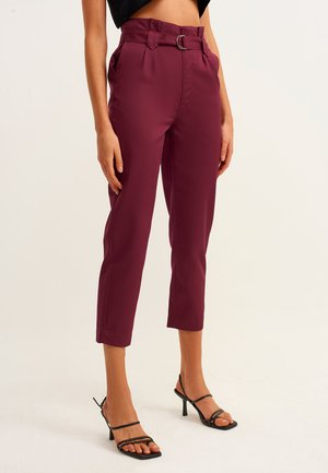 MIT PAPERBAG BUND - Trousers - dark purple