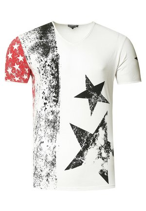 MIT V-NECK AUSSCHNITT - Print T-shirt - weiß