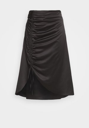 RUCHED SIDE SKIRT - A-line skjørt - black