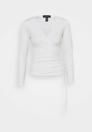 CARLY WRAP RUCHED SIDE - Topper langermet - white