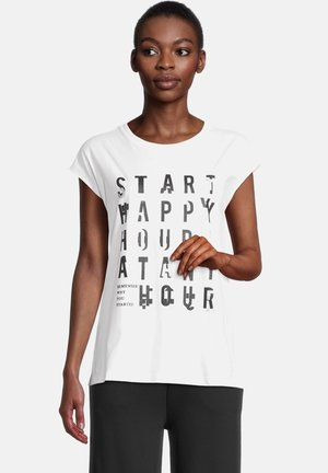 Print T-shirt - weiß/schwarz