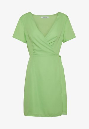 RUFFLE SLEEVE WRAP DRESS - Vestido informal - green