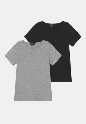 2 PACK UNISEX - T-shirt basic - mottled grey/black