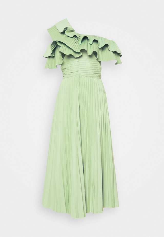 ONE SHOULDER PLEATED SKIRT MIDAXI DRESS - Day dress - sage