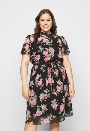 FLORAL SHORT SLEEVE DRESS - Vapaa-ajan mekko - black