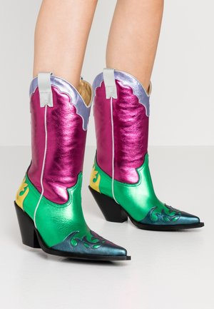 Cowboy-/Bikerboot - multicolor/pink/green