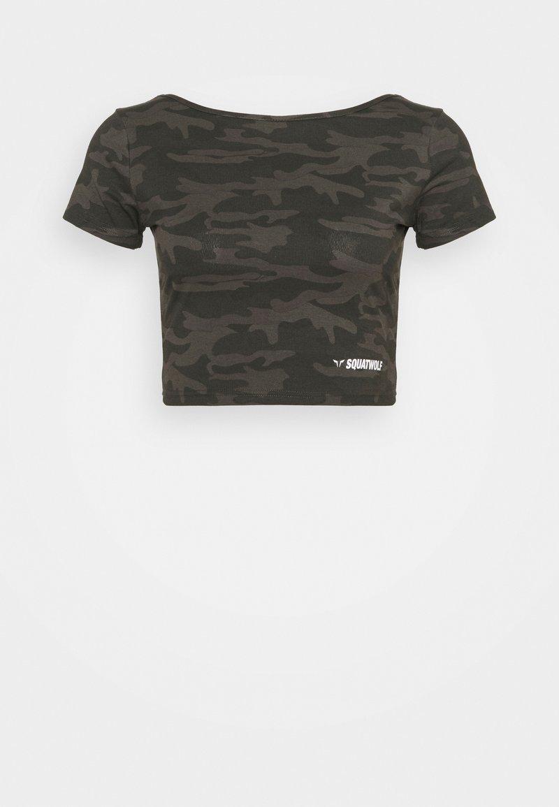 SQUATWOLF - WARRIOR CROP TEE SHORT SLEEVES - Print T-shirt - black