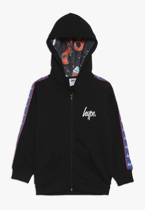 TAPED HOODIE - Mikina na zip - black