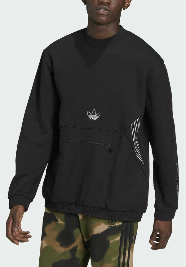 adidas Originals SPRT ARCHIVE MIXED-MATERIAL CREW SWEATSHIRT - Bluza - black/czarny Odzież Męska RNNL