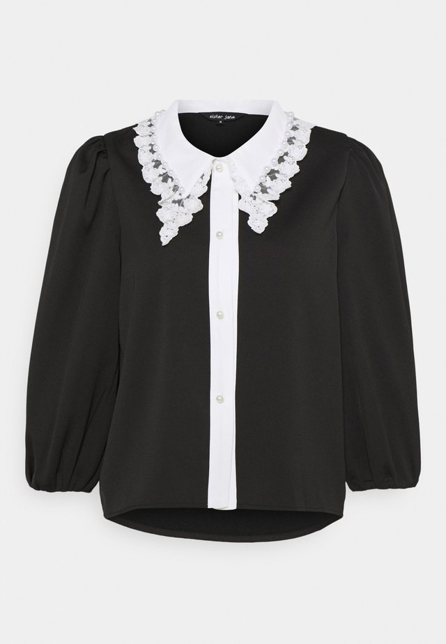 COLLAR BLOUSE - Button-down blouse - black