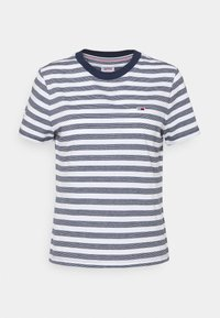 Tommy Jeans - CLASSICS STRIPE TEE - Print T-shirt - white/navy - 4