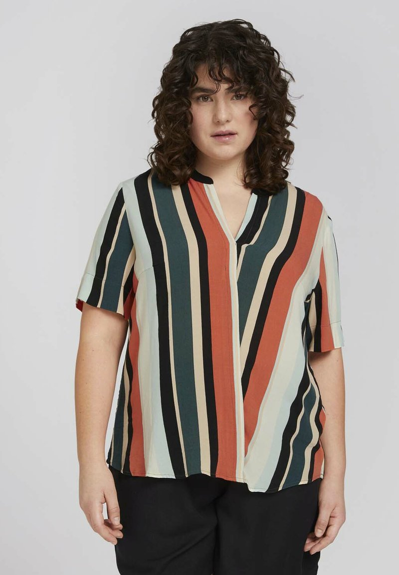 MY TRUE ME TOM TAILOR - BLOUSE WITH SLANTED PLACKET - Print T-shirt - multicolor sahara