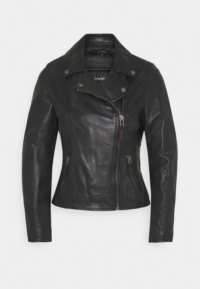 CLIPS - Leather jacket - black
