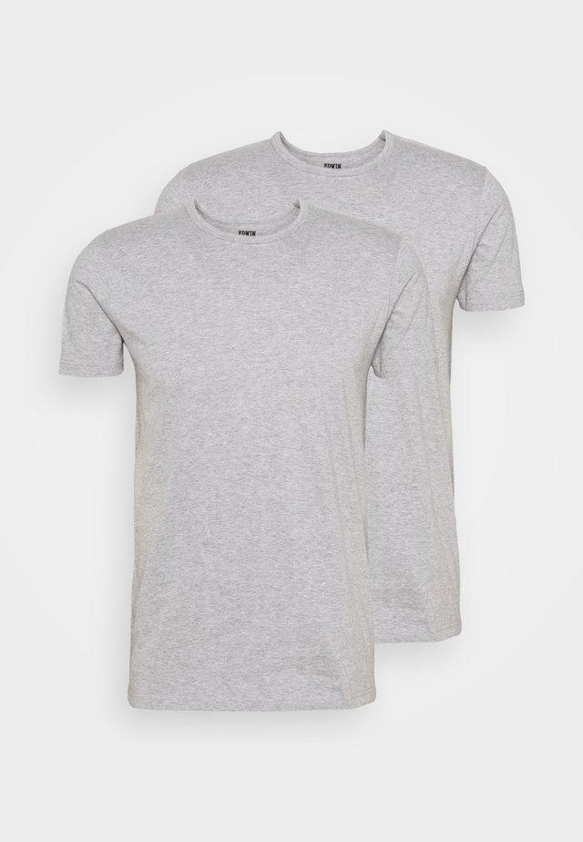 DOUBLE TEE UNISEX 2 PACK - T-shirt imprimé - grey marl