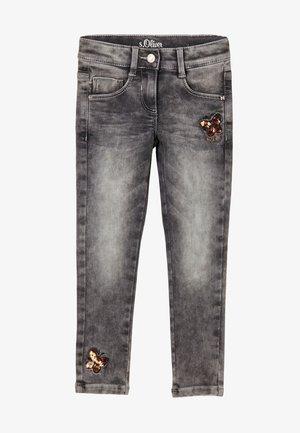 REHAUSSÉ D'UN DÉTAIL PAILLETÉ - Slim fit jeans - grey