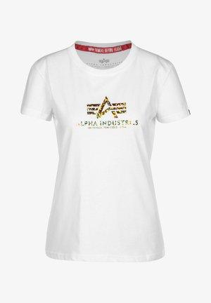 Print T-shirt - white/gold crystal