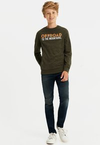 WE Fashion - MET TEKSTOPDRUK - Long sleeved top - dark green - 0